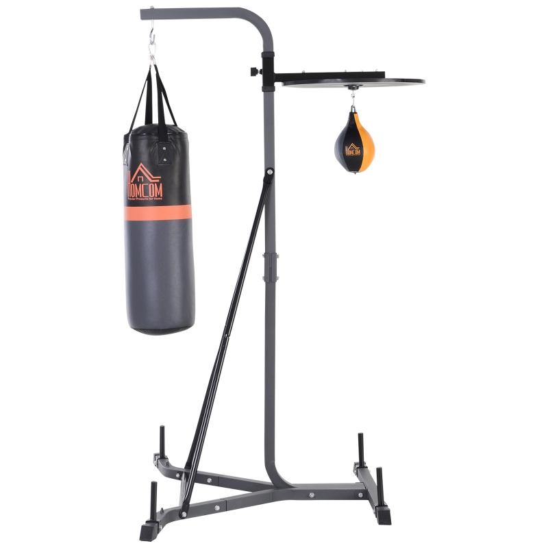 HOMCOM Saco de Boxeo Colgante con Soporte 5 Alturas Ajustables de Bola de Velocidad Saco de Arena de 20 kg para Ejercicios en Casa Gimnasio 115x163x224 cm Multicolor