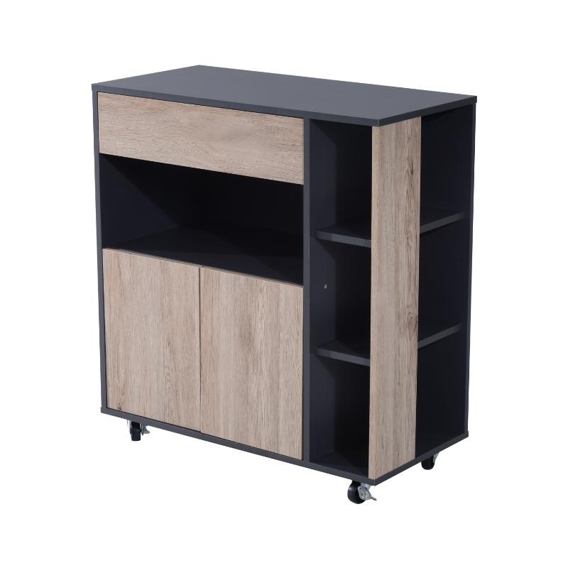 HOMCOM Armario de Suelo para Cocina Mueble Auxiliar Multiusos Diseño Moderno Espacioso con Cajón Estantes Ruedas Universales 80x39x86,5 cm