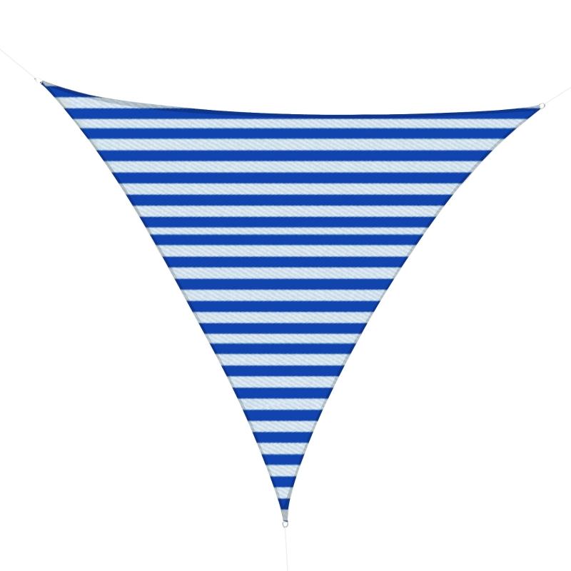 Outsunny Toldo Vela de Sombra Triangular 5x5x5 m HDPE Transpirable de Protección UV con Anillos y Cuerdas para Patio Jardín Piscina Terraza Cochera Azul y Blanco