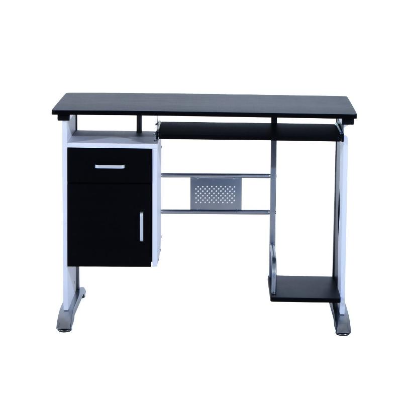 HOMCOM Mesa de Ordenador Escritorio de PC Mesa con Armario para Hogar 100x52x75cm Negro y Plata
