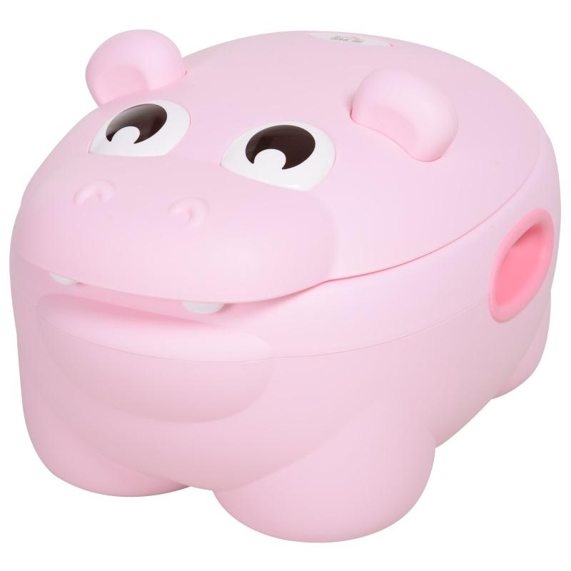 HOMCOM Orinal Infantil para Bebés Extraíble 2 en 1 con Forma de Hipopótamo con Asas Aprender Entrenamiento Fácil de Limpiar Carga 25 kg Indorno 40x30x23 cm Rosa