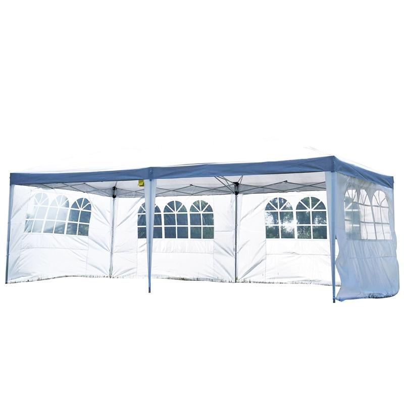 Outsunny Carpa Pabellon 5,91x2,97x2,55 metros Plegable 4 Paneles Ventanas Poliester Resistente de Agua Blanco
