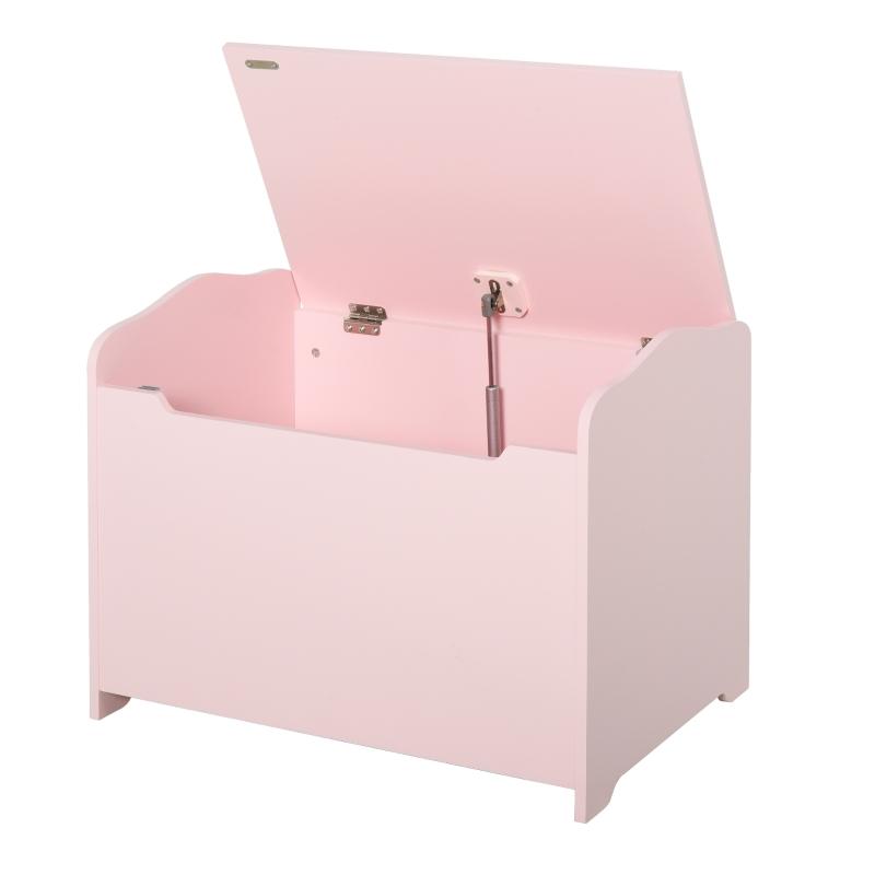 HOMCOM Caja de Almacenaje para Juguetes Baúl Organizador para Niños +3 Años con Tapa 60x40x48 cm para Libros Ropa Color Rosa