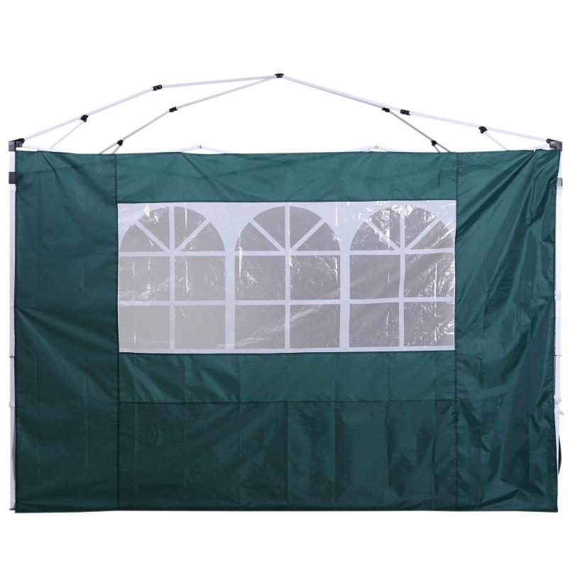 Outsunny® 2 Paredes Parte Laterales para Carpa 3x3m Lado Parasol de Gazebo Tela Oxford con Ventana Medidas 300x200cm Verde Oscuro