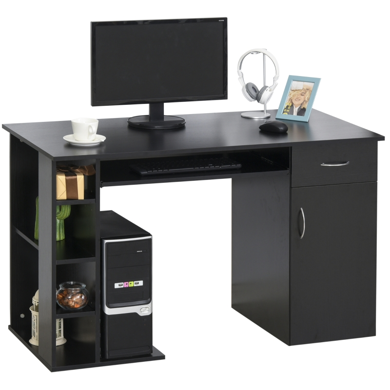 HOMCOM Mesa Escritorio para PC Mesa de Ordenador con Estantes abiertos y baldas Ajustables Armario Soporte para CPU y Bandeja Extraíble 120x60x74 cm Negro