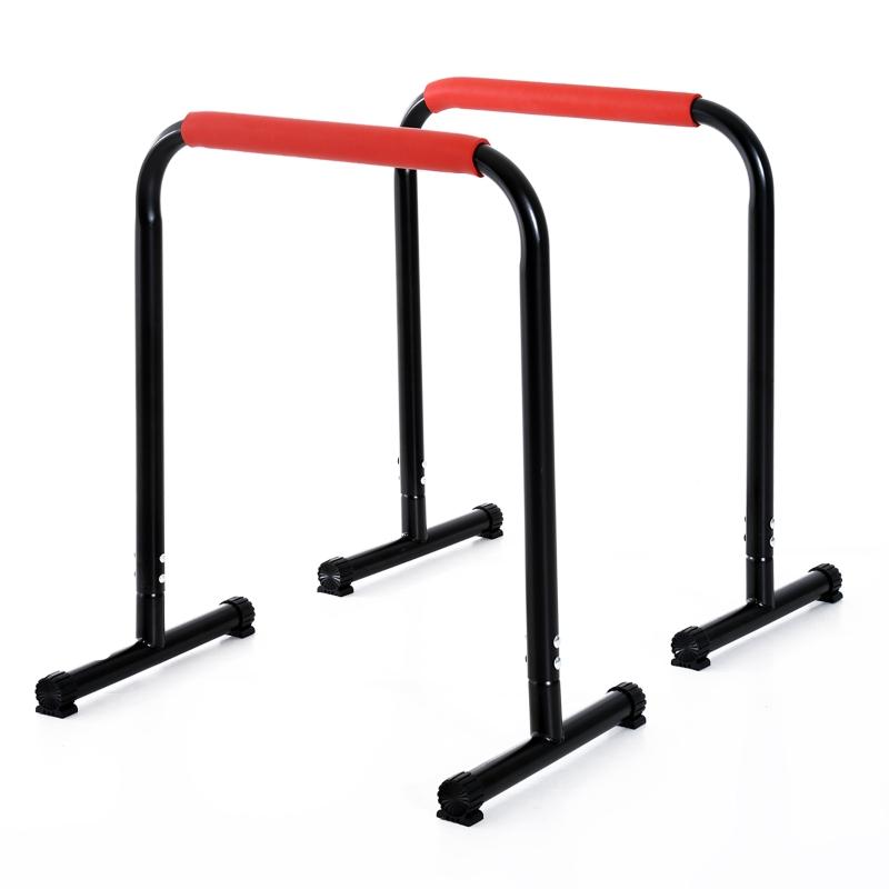 HOMCOM Barras Paralelas Training Soporte con Mango Extra Ancho para Flexiones Inclinadas Musculación Calistenia Dips 63x41x73 cm Negro