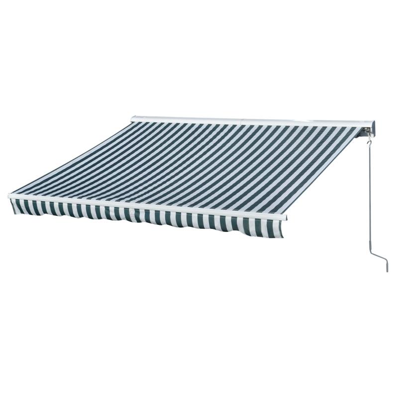 Outsunny Toldo Manual Retráctil Automático con Manivela Mando a Distancia 300x250 cm Ángulo Ajustable Protección Solar de Rayas Verde y Blanco