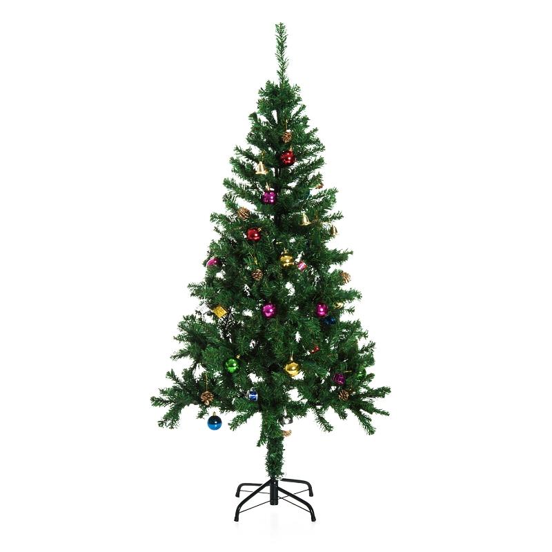 HOMCOM Árbol de Navidad 180cm Artificial Pino con Adornos Decorativos 48 Pcs y Soporte Metálico Color Verde Árbol Realista para Decoración Navidad
