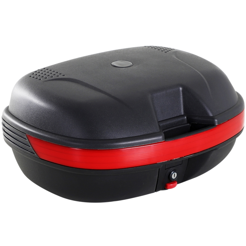 HomCom® Baul para Moto con Cerradura 44L de Capacidad 2 Llaves Kit de Montaje 54x41x28 cm Color Negro