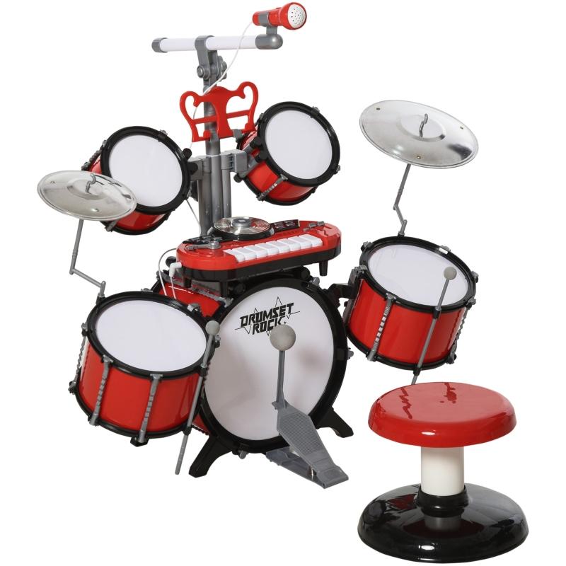 HOMCOM Batería Infantil con Taburete Micrófono Platos Baquetas Teclado y Varios Efectos de DJ Instrumento Musical para Niños +3 Años 77,5x40x76,5 cm Rojo