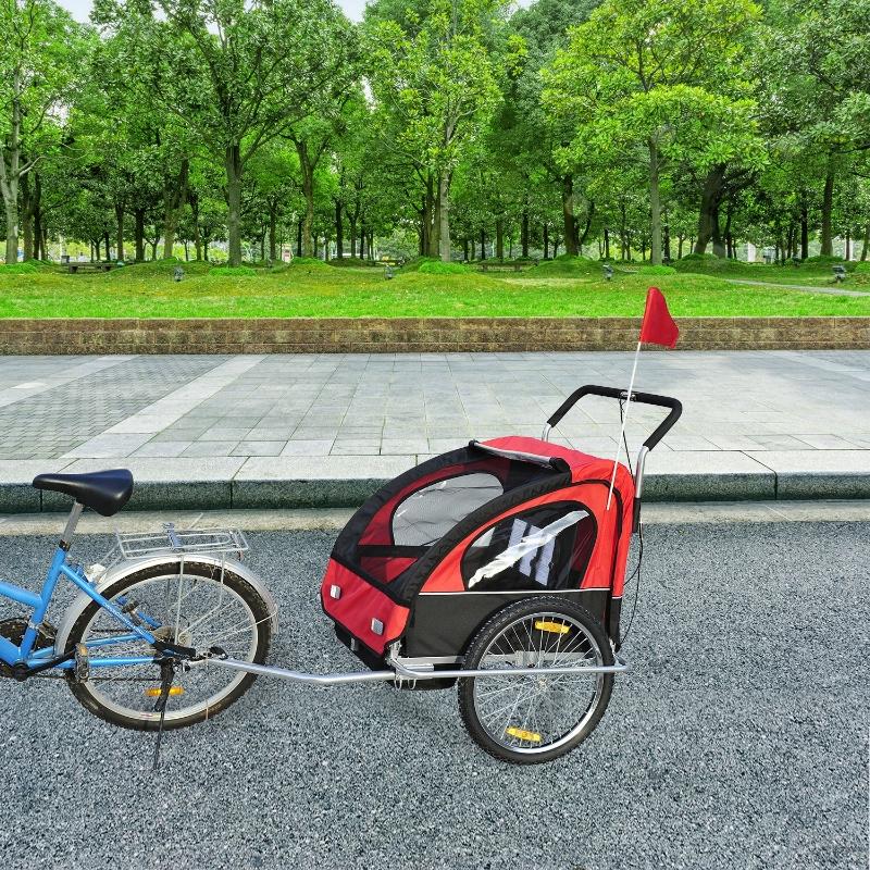 HOMCOM 2 en 1 Remolque de Bicicleta para Niños de 2 Plazas con Amortiguadores Convertible en Carro para Correr con Barra y Kit de Footing 129x85x105cm