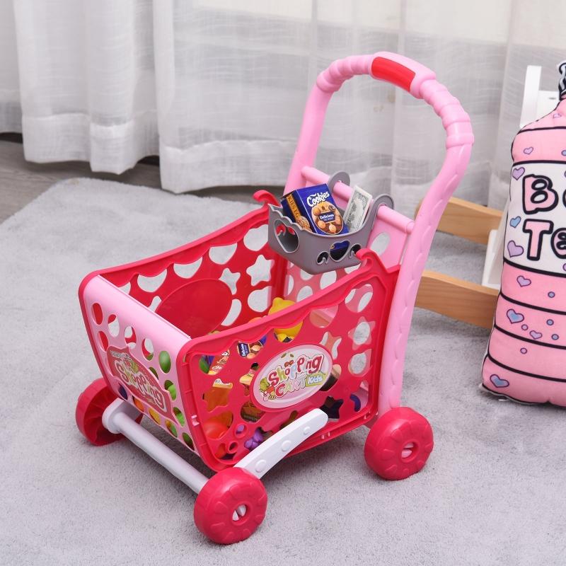 HOMCOM Set de Carrito de Compras para Niños Mayores de 3 Años Juego de Roles Educativo Juguete Infantil con 38 Piezas 41,5x33,5x48,5 cm Rosa