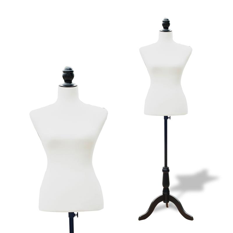 HomCom Maniquí Femenino de Costura Busto de Señora para Modistas Exhibición Altura Ajustable a 130-168cm Blanco