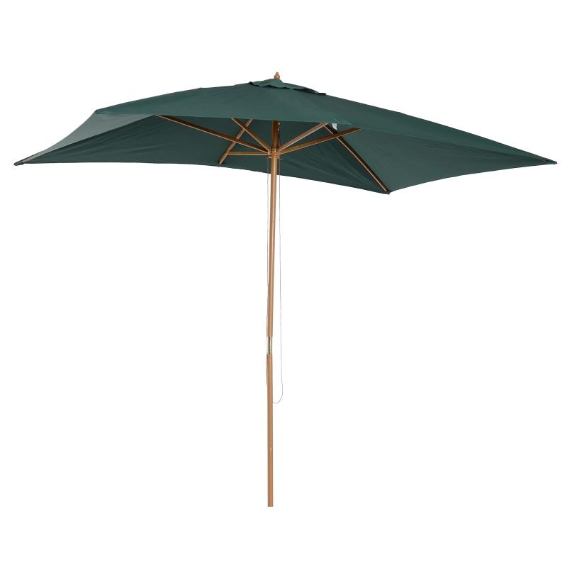 Outsunny Sombrilla Parasol 2x3m y Altura 2,5m Jardin Terraza Poliester 180g/m2 y Madera Verde Oscuro