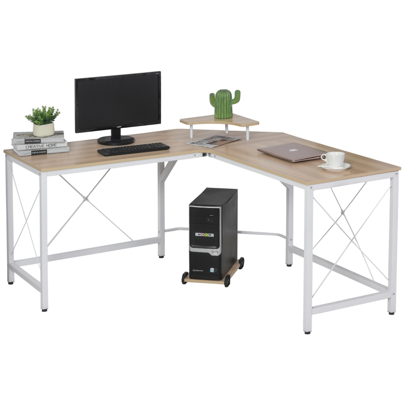 HOMCOM Mesa de Escritorio en Forma de L Escritorio de Ordenador con Soporte de Monitor Estante Independiente 150x150x76cm Madera y Blanco