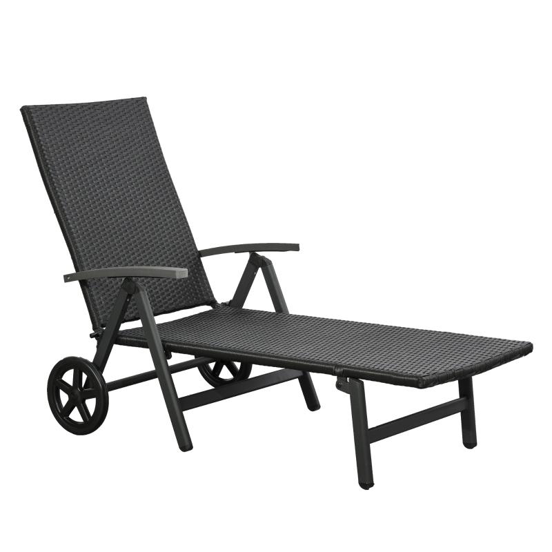 Outsunny Tumbona de Jardín de Ratán 192x74x55 cm con Respaldo Reclinable en 7 Posiciones Reposabrazos y Ruedas Marco de Aluminio para Patio Terraza Balcón Negro