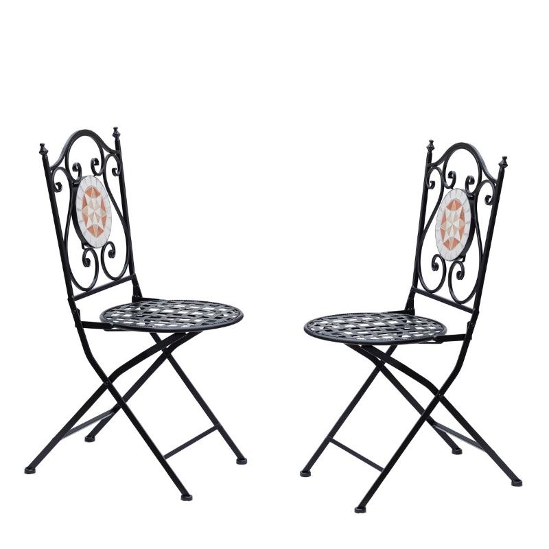 Outsunny® Set de 2 Sillas Plegables de Jardín Bistro Silla Asiento Mosaico para Terraza Balcón Acero Carga 120kg