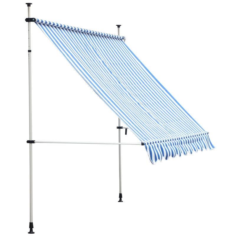 Outsunny Toldo Plegable de Ventana 197x250x200/300cm Montando en la Pared para Exterior Extensible Altura Regulable con Manivela Color Azul y Blanco