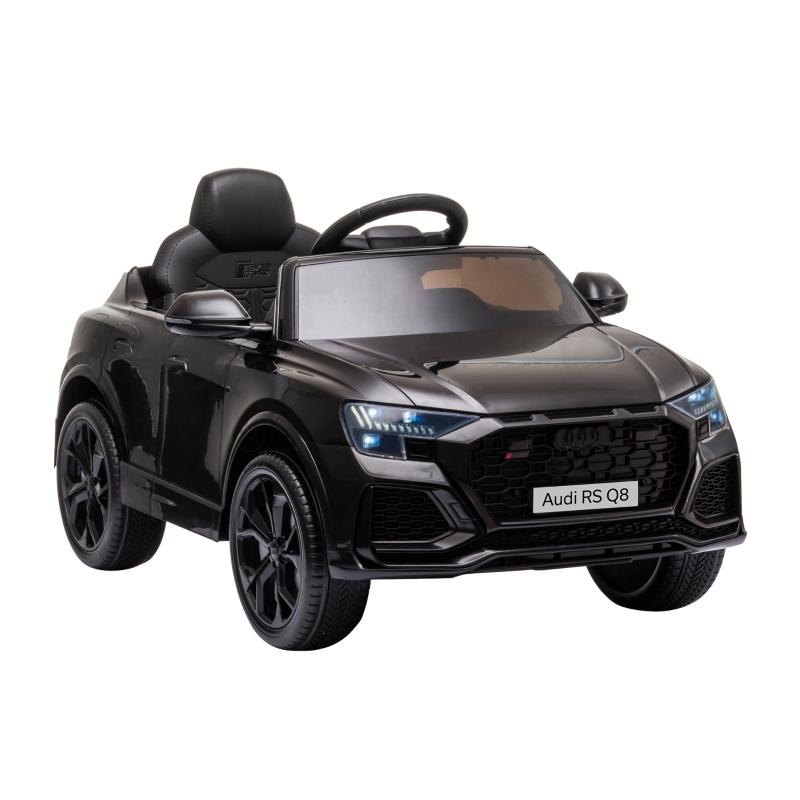 HOMCOM Coche Eléctrico Infantil +3 Años Licencia Audi RS Q8 con Batería 6V Mando a Distancia Música MP3 Bocina y Luces Velocidad Máx. 3km/h 101x62x51 cm Negro
