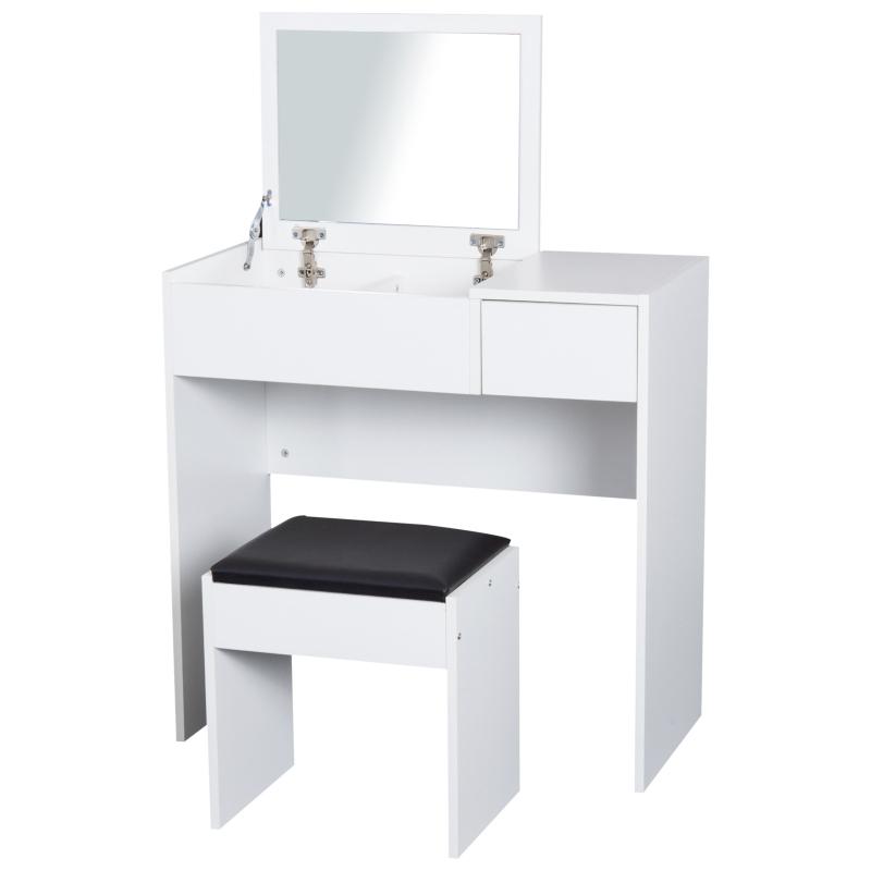 HomCom® Tocador con Taburete Espejo Tapa Abatible Mesa para Maquillaje 3 Cajas y 1 Cajón Blanco