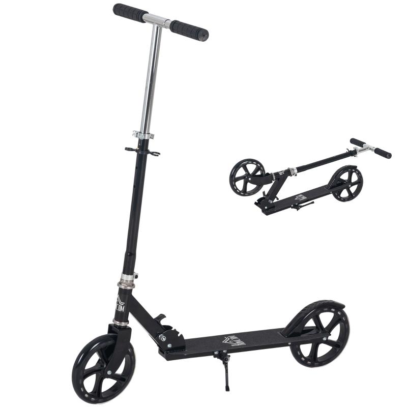 HOMCOM Patinete Plegable para Niños de +5 Años Scooter Infantil Manillar Ajustable en Altura de 4 Niveles con Freno 88x37x75-100 cm Negro