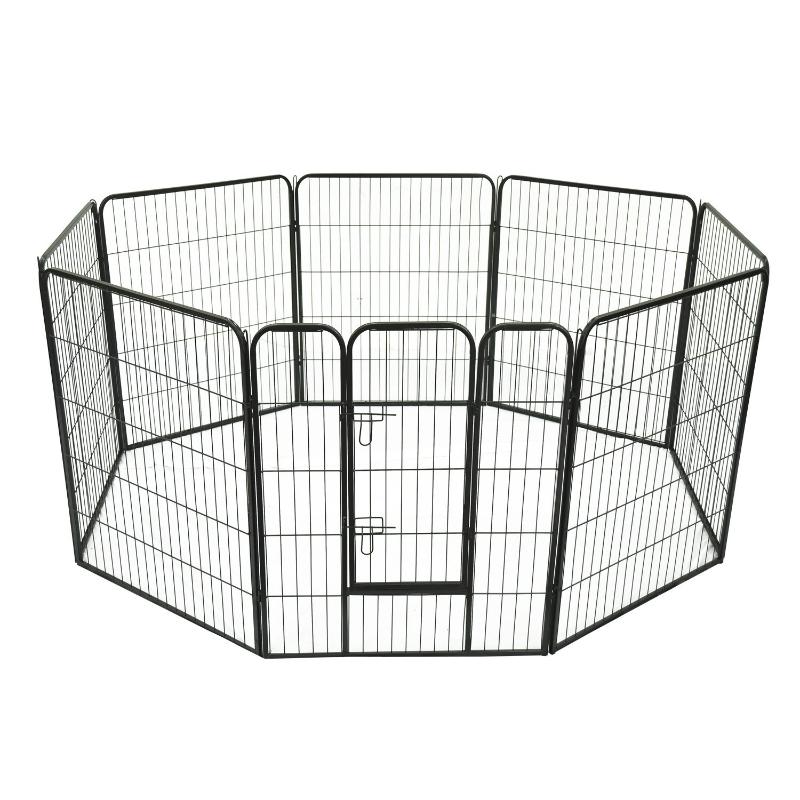 HOMCOM Parque para Mascotas Perros 8 Vallas 80x100cm Corral Plegable con Puerta y Doble Pestillo Paneles Metálicos Cerca de Entrenamiento Negro