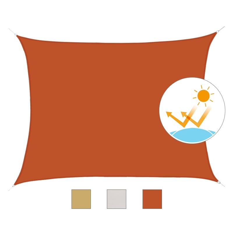 Outsunny Toldo Vela Rectángulo Color Rojo Sombrilla Parasol Terraza Jardin Camping 3x4m
