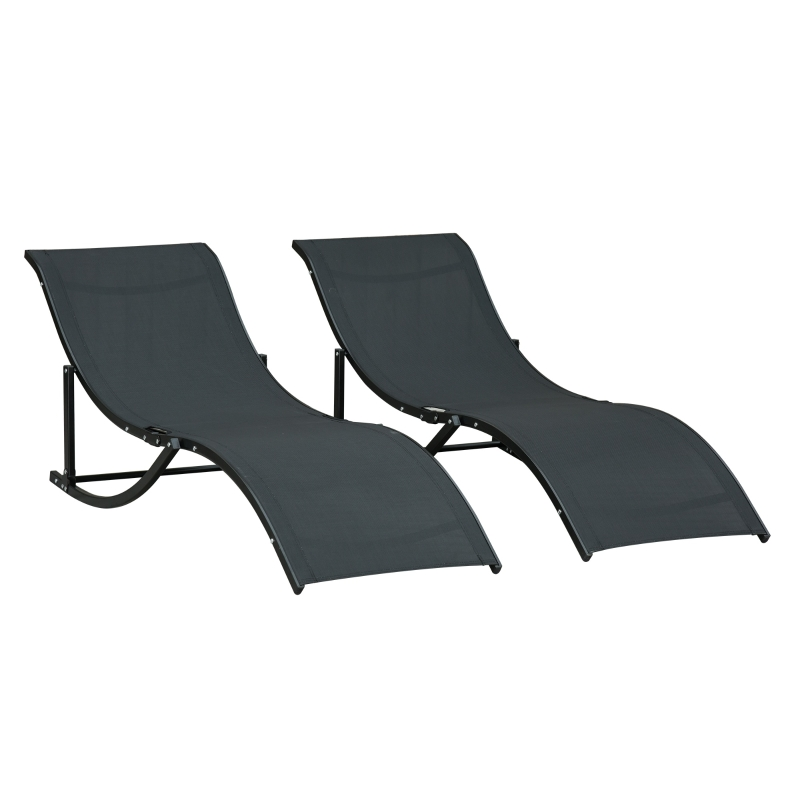 Outsunny 2 Tumbonas Plegables en Forma de S Ergonómica con Marco de Aluminio Textilene para Piscina Patio Jardín Terraza 165x61x63 cm Negro