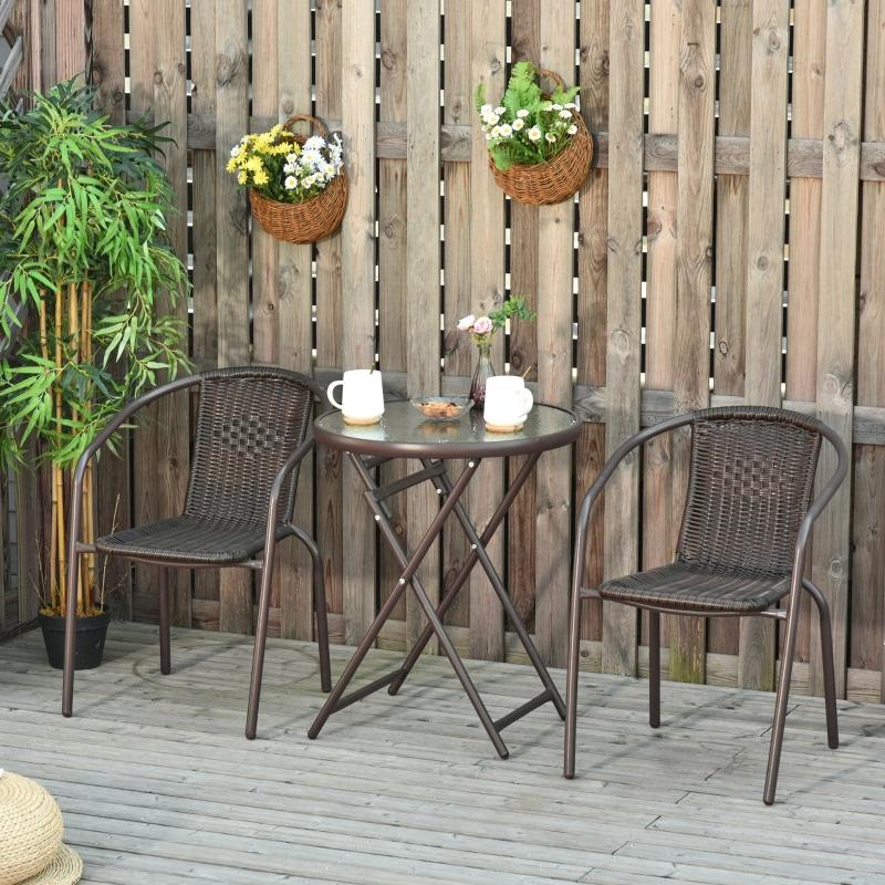 Outsunny Conjunto de Muebles de Jardín 3 Piezas Ratán Plegable Set de 2 Sillas 58x54x73 cm 1 Mesa Ø60x70 cm para Balcón Terraza Patio Marco Acero Marrón