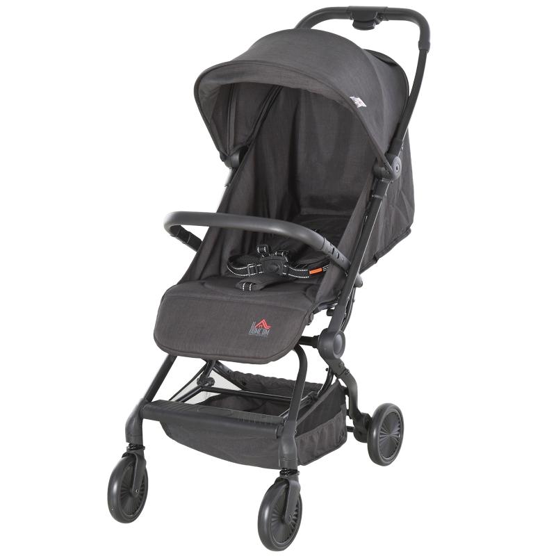 HOMCOM Silla de Paseo Ligera Cochecito para Bebé Plegable con Asiento Reclinable a partir de 6 meses hasta 15kg peso 44,5x93,5x105 cm Gris