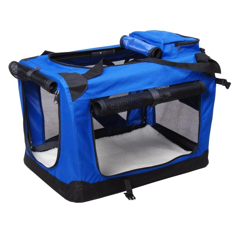 PawHut Bolsa de Transporte para Perros Gatos Mascotas Transportín de Viaje con 3 Entradas 60x42x42 cm Azul y Negro