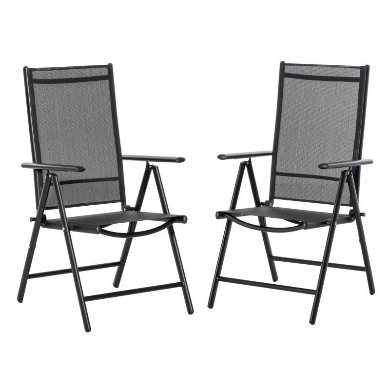 Outsunny Set de 2 Sillas de Comedor de Jardín Plegables de Aluminio con Respaldo Alto Ajustable de 8 Niveles y Reposabrazos Transpirable 65x55x107 cm Negro