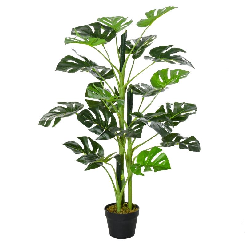 Outsunny Planta Artificial Monstera con Maceta Árbol Tropical Sintético con 21 Hojas y para Casa Oficina Ø16x100 cm Verde