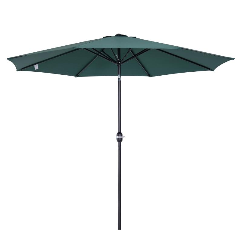 Outsunny Parasol Grande de Jardín Desmontable Ángulo Regulable y Manivela de Apertura Fácil 300x245cm Verde