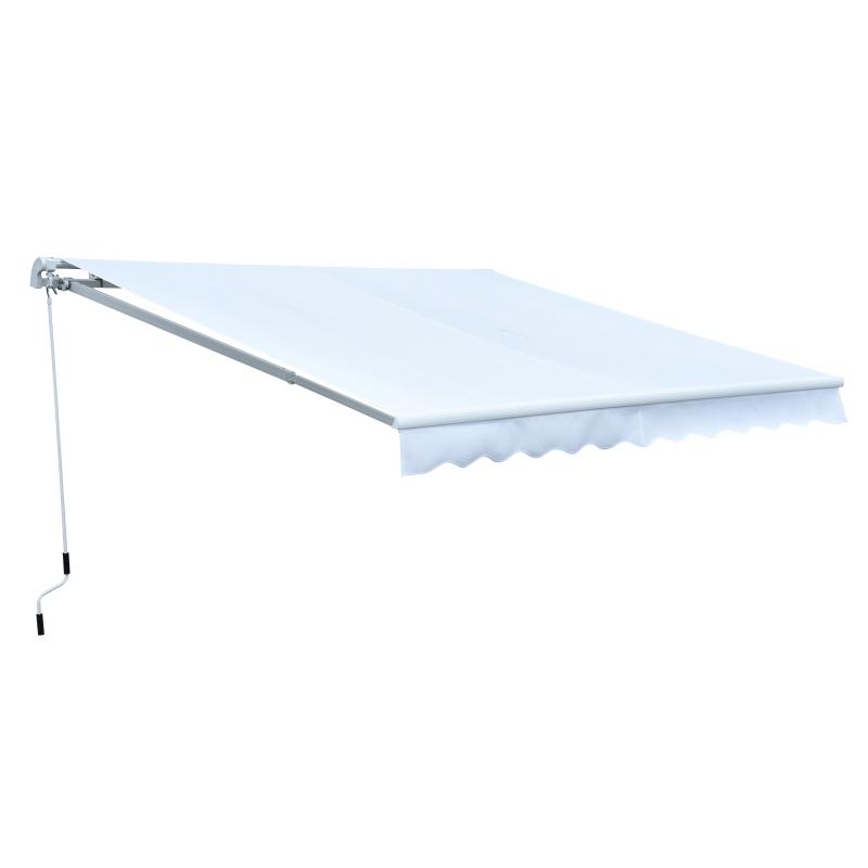 Outsunny Toldo Manual Plegable 2.95x2.5m de Aluminio Ángulo Ajustable con Manivela para Exterior Balcón Jardín Terraza Color Blanco