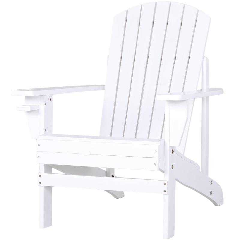 Outsunny® Adirondack Silla para Jardín Adirondack Sillón para Patios Exterior Estilo Clásico Ergonómico 97x72.5x93cm Blanca