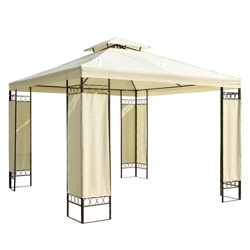Outsunny Pabellón Cenador 3x3x2.65m Gazebo de Acero y Tela de poliéster 180g / m² - Color Crema y Negro