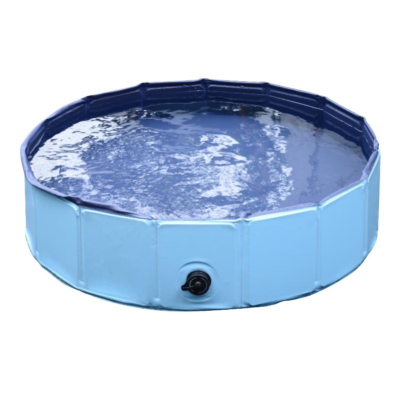 PawHut Piscina Plegable para Perros Gatos Bañera Portátil para Mascotas PVC Antideslizante Múltiples Usos para Interiores y Exteriores Ø80x20 cm Azul