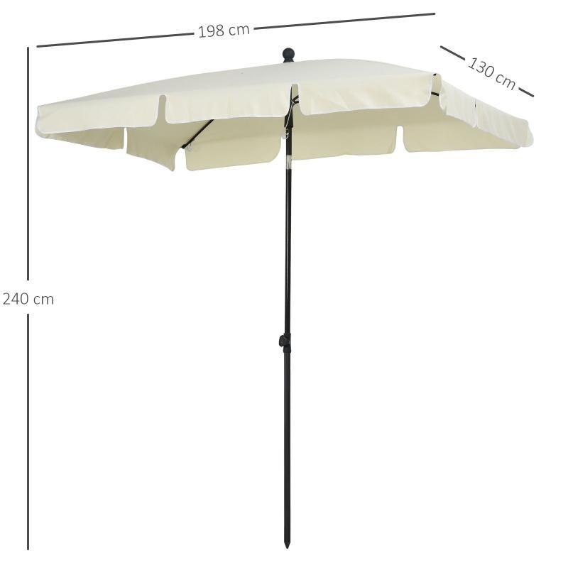 Outsunny Sombrilla Rectangular Grande Parasol con Ángulo Ajustable para Patio Terraza o Jardín 198x130x240cm En Color Beige