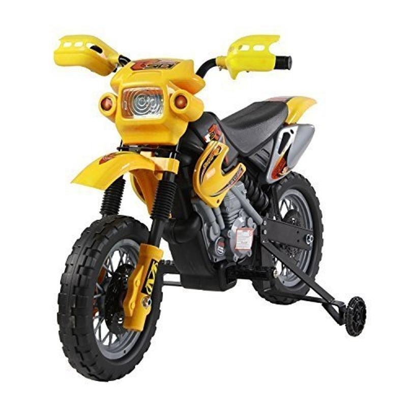 HomCom® Moto Electrica Infantil Bateria 6V Recargable Niños 3-6 Años Cargador y Ruedas Apoyo Color Amarillo