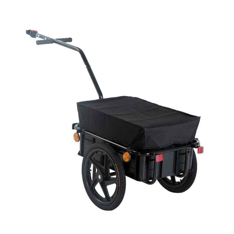 HOMCOM Remolque de Bicicleta Negro Acero con Reflectores Acero 144x59x80cm