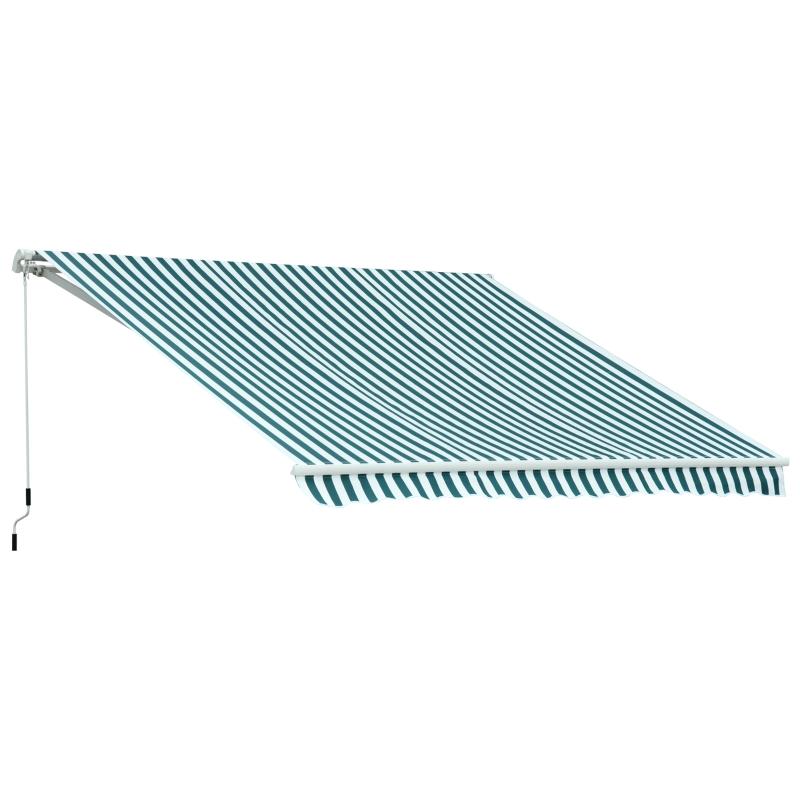 Outsunny Toldo Manual Plegable de Aluminio de 2.95x2.5m para Exterior con Ángulo Ajustable y Manivela para Patio Balcón Jardín Terraza Color Verde y Blanco
