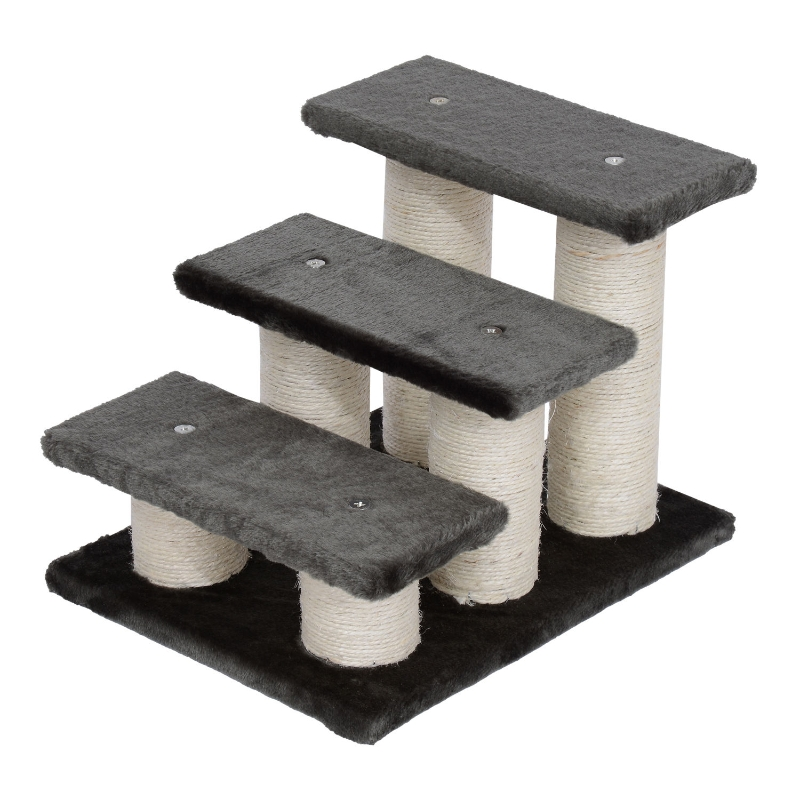 PawHut Escalera para Mascotas de 3 Niveles Escalera para Gatos Perros Mayores de Felpa y Sisal 45x35x34 cm cm Gris
