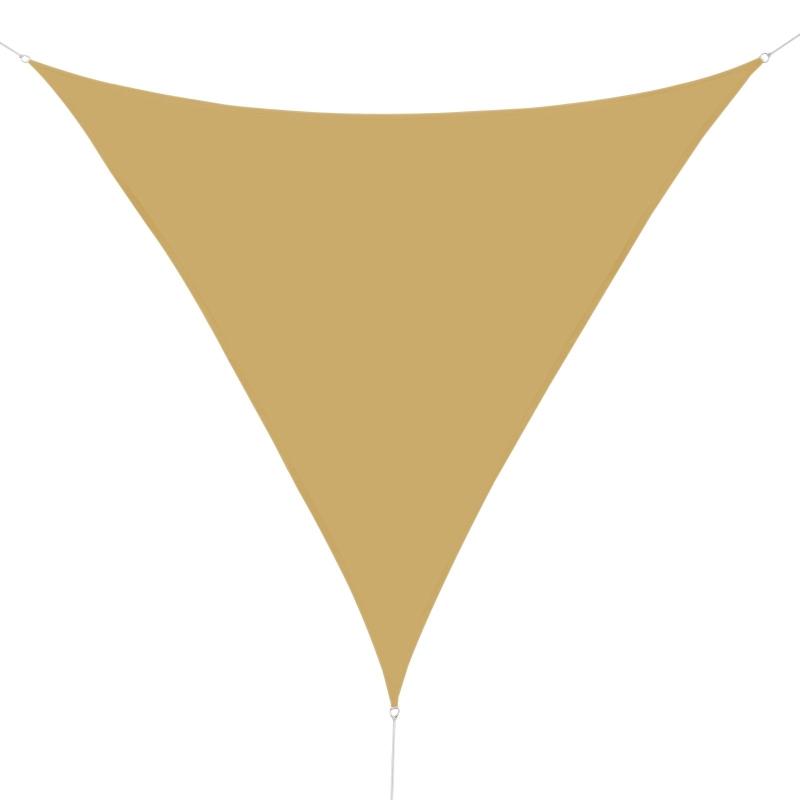 Outsunny Toldo Vela Triangular 6x6x6m Toldo Triángulo tipo Sombrilla o Parasol para Terraza Jardín o Camping  de Poliéster Color Arena