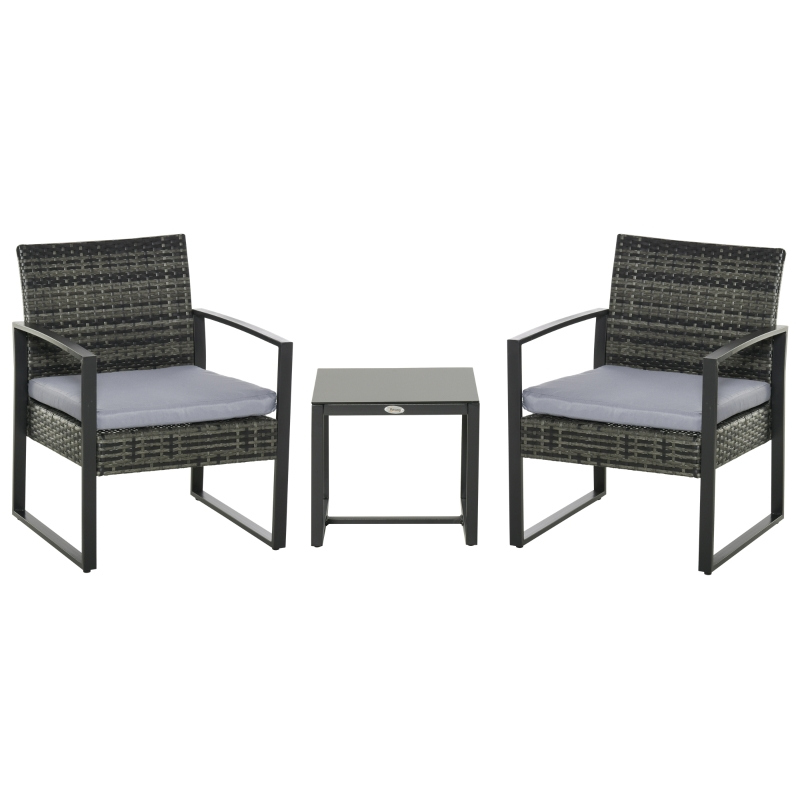 Outsunny Conjunto de Muebles de Ratán de Jardín 3 Piezas Set de Comedor con 1 Mesa 42,5x40x39 cm 2 Sillones 63x57x76 cm Cojín Acolchado para Patio Terraza Balcón Gris