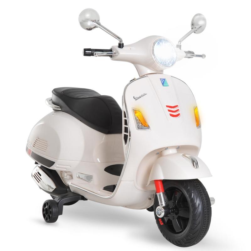 HOMCOM Moto Eléctrica Infantil Coche Triciclo Vespa Scooter Eléctrico a Batería con Luz MP3 USB Bocina para Niños Más de 3 Años Carga 25kg