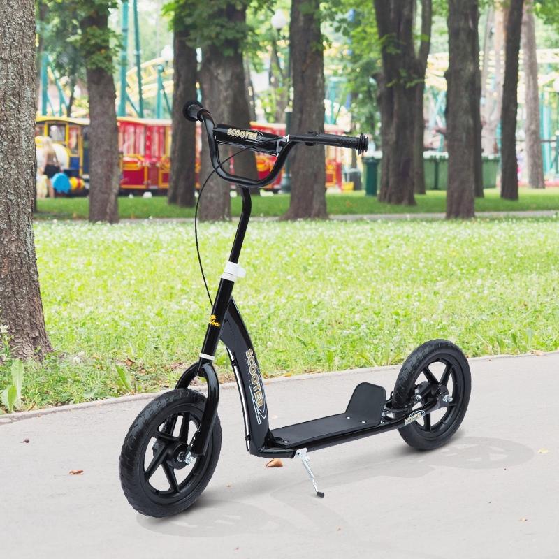 HOMCOM Patinete para Niños de +5 Años Scooter de 2 Ruedas Grandes de 12 Pulgadas con Freno y Manillar Ajustable en Altura Carga Máx. 100 kg 120x52x80-88 cm Negro