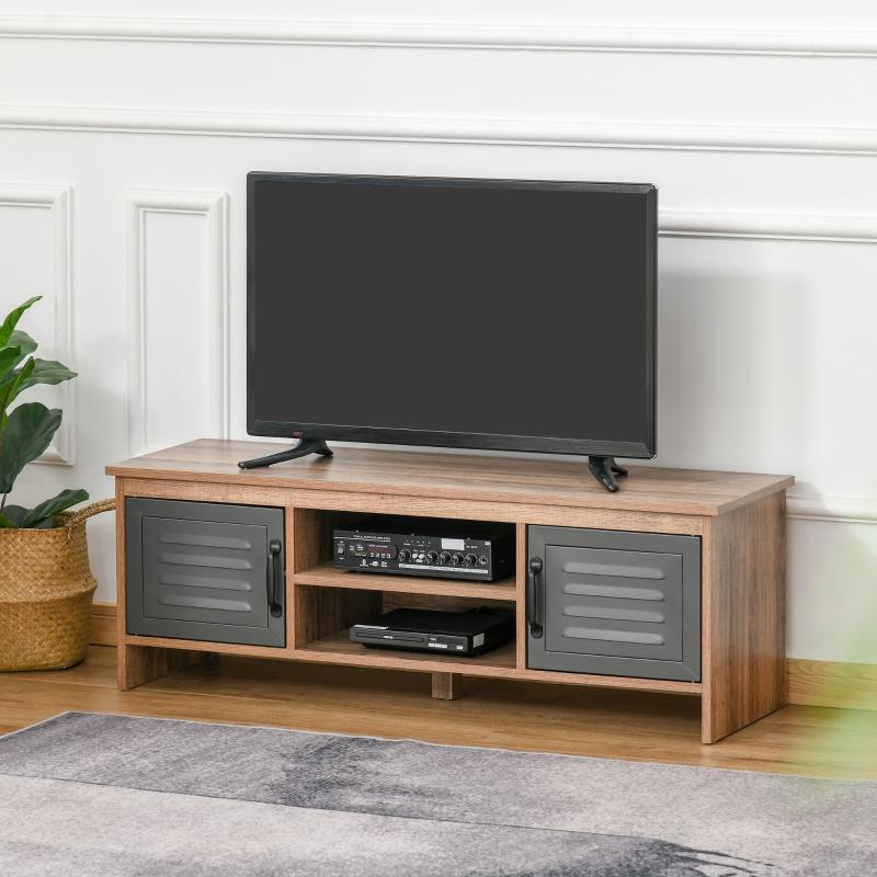 """HOMCOM Mueble de TV para Televisores de 42"""" con 2 Compartimentos Cerrados con Puertas de Metal y 2 Estantes Abiertos 109x35x38 cm Madera Natural y Gris"""