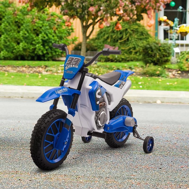 HOMCOM Moto Eléctrica para Niños de +3 Años 12V Moto de Juguete Infantil con 2 Ruedas de Equilibrio Velocidad Máx. 8 km/h Arranque Suave 106,5x51,5x68 cm Azul