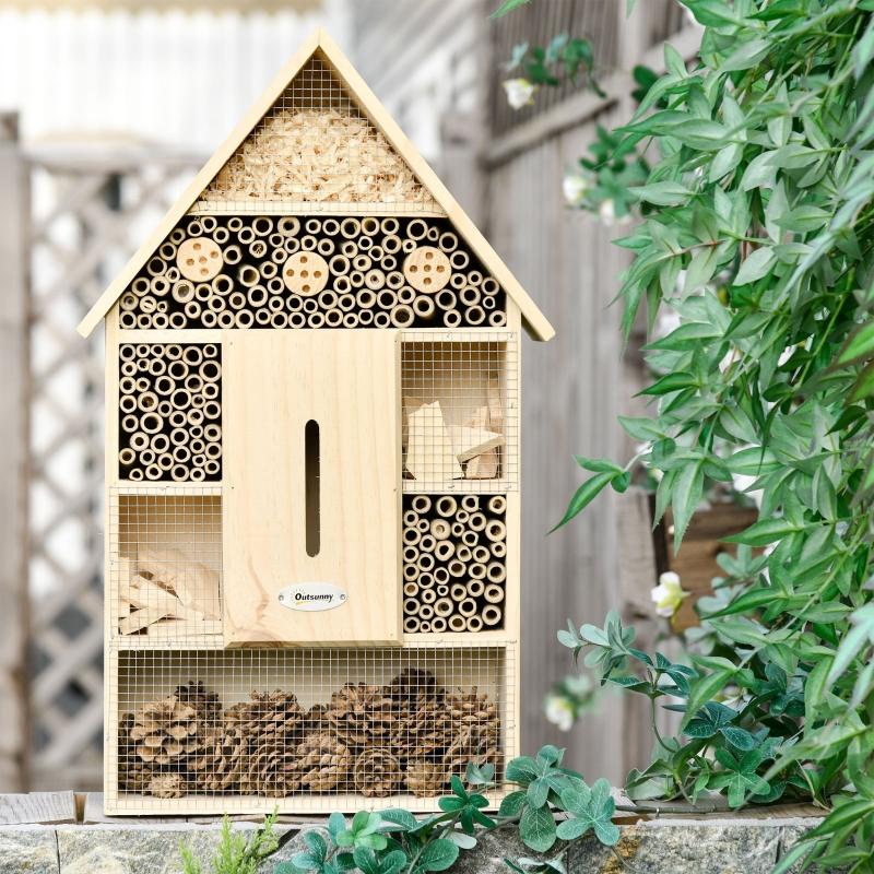 Outsunny Hotel de Insectos de 5 Pisos Casa de Insectos de Madera y Bambú para Abejas Mariposas Mariquitas Uso Exterior en Jardín 32x12,5x57 cm Color Natural